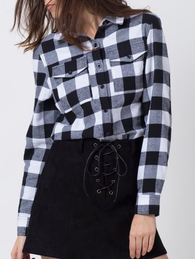 Tartan Shirt with Pocket - WHITE AND BLACK M Mobile