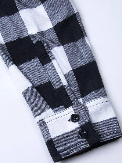 Tartan Shirt with Pocket - WHITE AND BLACK XL Mobile