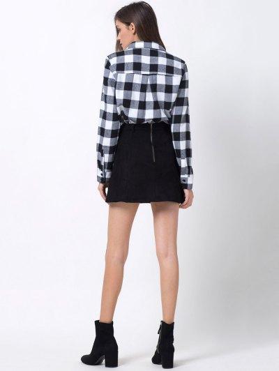Tartan Shirt with Pocket - WHITE AND BLACK 2XL Mobile