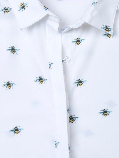 Funny Bee Print Shirt - WHITE XS Mobile