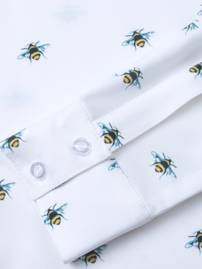 Funny Bee Print Shirt - WHITE S Mobile