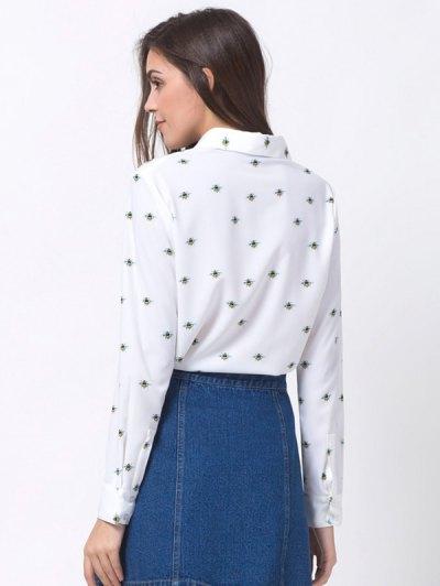 Funny Bee Print Shirt - WHITE L Mobile