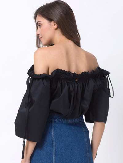 Ruffles Off Shoulder Blouse - BLACK S Mobile