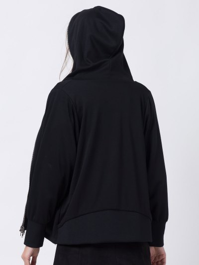 Batwing Sleeve Zip Up Hoodie - BLACK XS Mobile