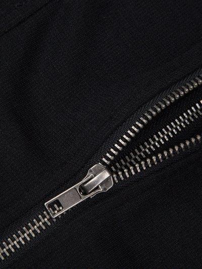 Batwing Sleeve Zip Up Hoodie - BLACK S Mobile