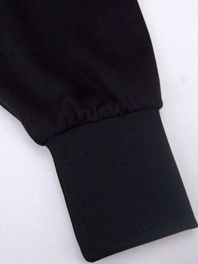 Batwing Sleeve Zip Up Hoodie - BLACK M Mobile