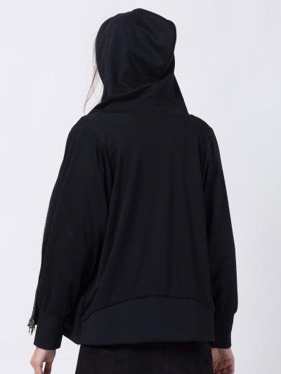 Batwing Sleeve Zip Up Hoodie - BLACK 2XL Mobile