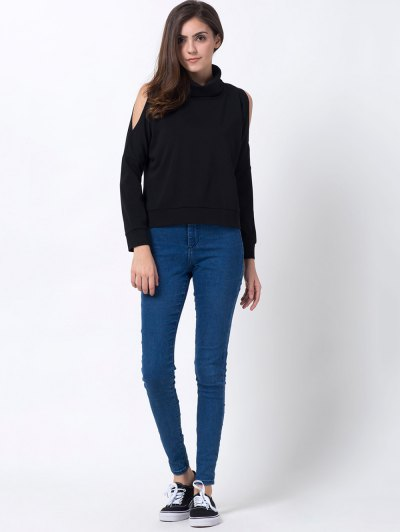 Turtle Neck Cold Shoulder Sweatshirt - BLACK XS Mobile