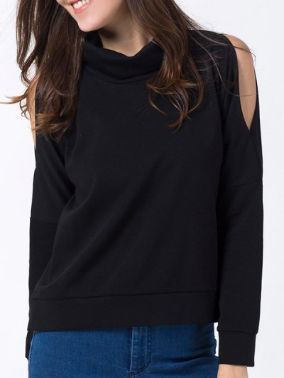 Turtle Neck Cold Shoulder Sweatshirt - BLACK XL Mobile