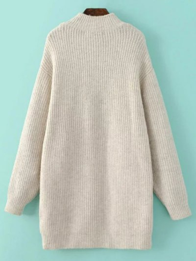 Funnel Neck Oversized Sweater Dress - OFF-WHITE L Mobile
