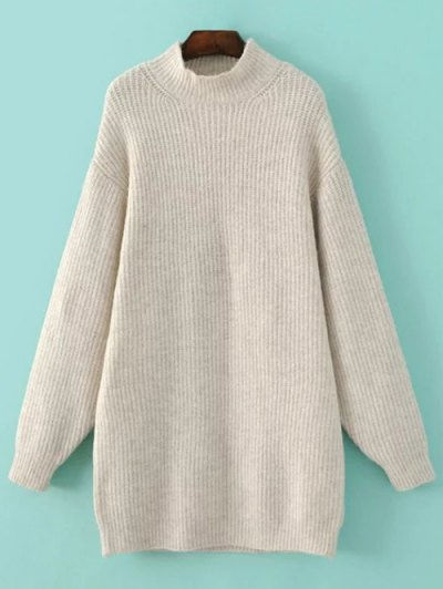 Funnel Neck Oversized Sweater Dress - OFF-WHITE L Mobile