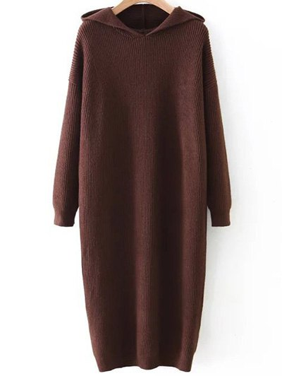 Hooded Midi Jumper Dress - COFFEE BROWN ONE SIZE Mobile