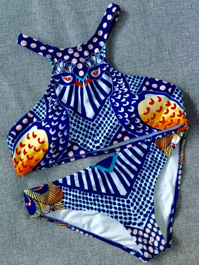 Ethnic Printed Sports Bikini Set - BLUE L Mobile