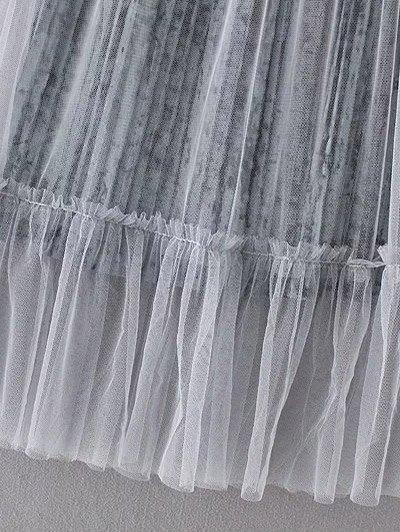 Mesh A Line Tea Length Skirt - GRAY ONE SIZE Mobile