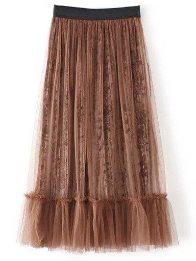 Mesh A Line Tea Length Skirt - COFFEE ONE SIZE Mobile