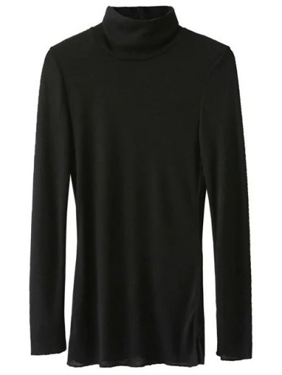 Funnel Neck Fitted Side Slit T-Shirt - BLACK L Mobile