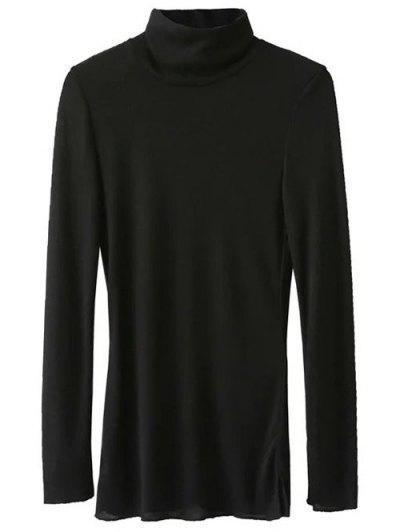 Funnel Neck Fitted Side Slit T-Shirt - BLACK M Mobile