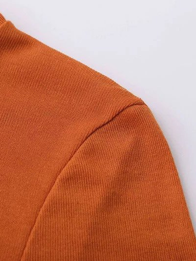 Funnel Neck Fitted Side Slit T-Shirt - ORANGE M Mobile