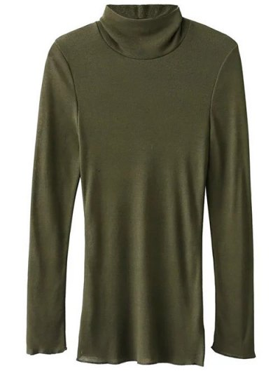 Funnel Neck Fitted Side Slit T-Shirt - ARMY GREEN L Mobile