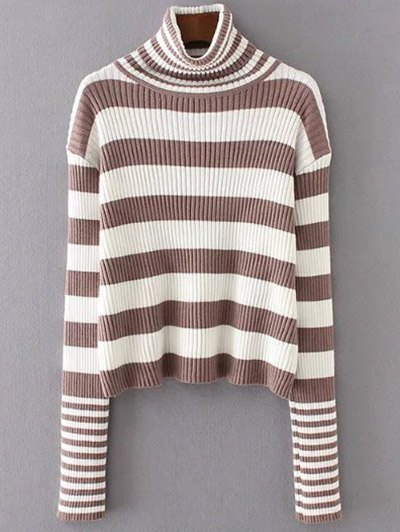 Funnel Neck Ribbed Striped Sweater - KHAKI ONE SIZE Mobile