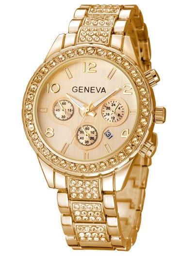 Rhinestoned Quartz Wrist Watch - GOLDEN  Mobile