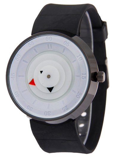 Silicone Number Turntable Watch - WHITE  Mobile
