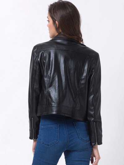 Lapel Zipper Biker Jacket - BLACK XL Mobile