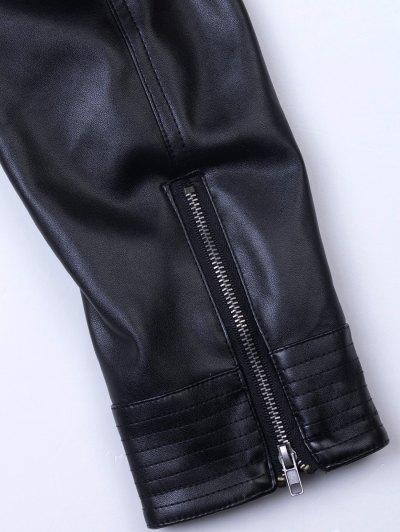 Lapel Zipper Biker Jacket - BLACK L Mobile