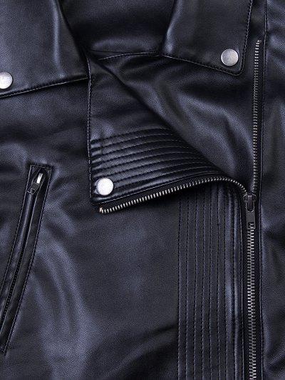 Lapel Zipper Biker Jacket - BLACK 2XL Mobile