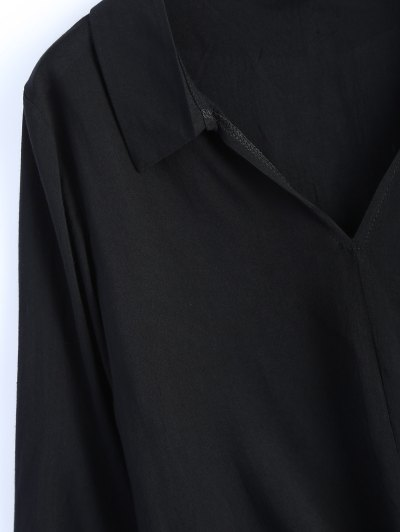 Loose Tied Blouse - BLACK XL Mobile