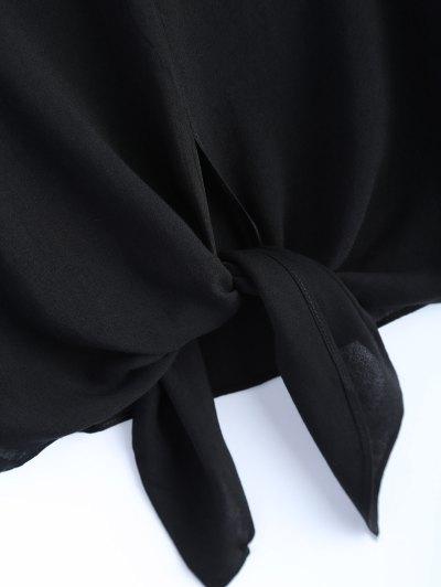 Loose Tied Blouse - BLACK L Mobile