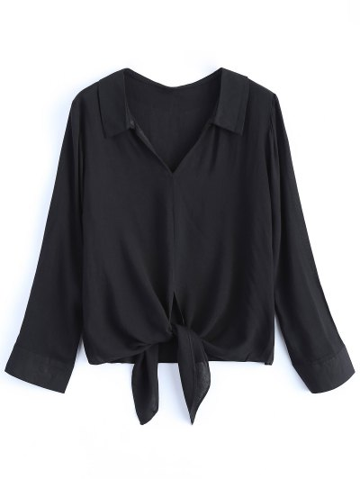 Loose Tied Blouse - BLACK M Mobile