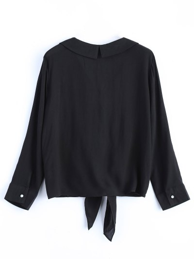Loose Tied Blouse - BLACK S Mobile