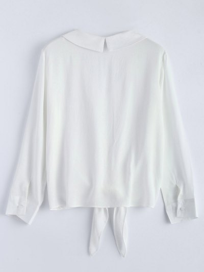 Loose Tied Blouse - WHITE L Mobile
