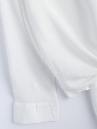 Loose Tied Blouse - WHITE M Mobile