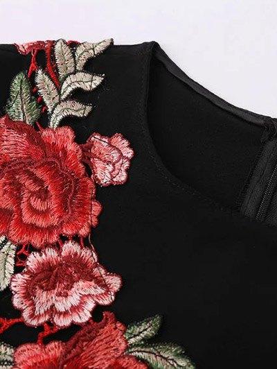 Side Slit Floral Embroidered Dress - BLACK S Mobile
