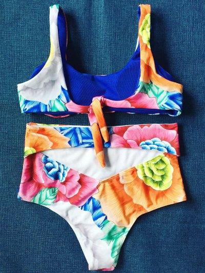High Rise U Neck Floral Bikini - FLORAL L Mobile