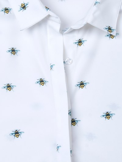 Funny Bee Print Shirt - WHITE L Mobile