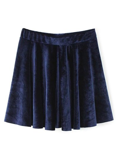 Velvet A Line Mini Skirt - PURPLISH BLUE L Mobile