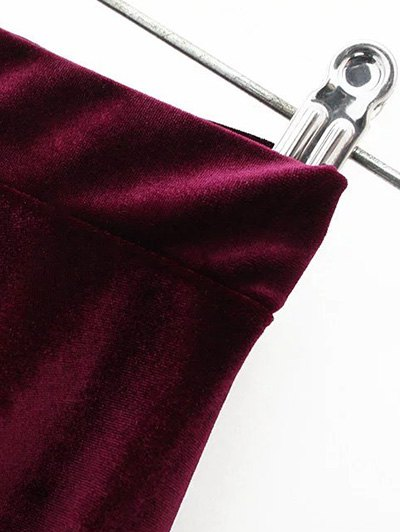 Velvet A Line Mini Skirt - BURGUNDY M Mobile