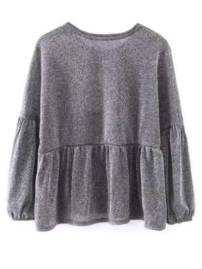 Puff Sleeve Cropped Smock Top - GRAY L Mobile