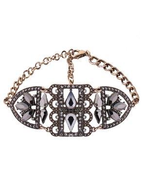 Gargantilla Ahuecada Metálica Imitación Diamantes - Dorado