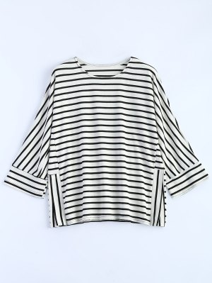 Oversized Side Slit Striped T-Shirt - White