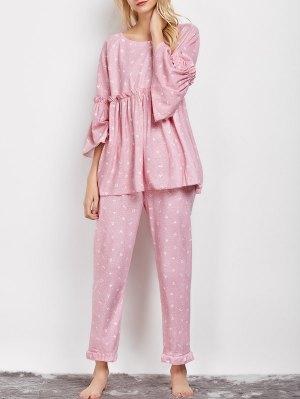 Letter Ruffles Smock Top And Pants Pajama - Pink