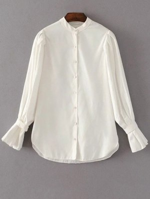 Frilled Sleeve Button Up Chiffon Blouse - White