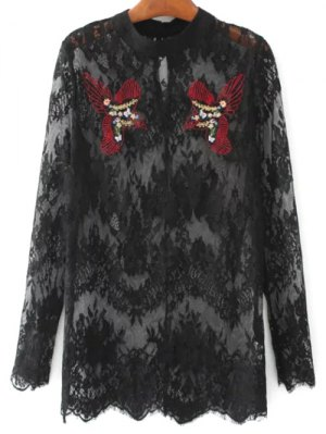 Birds Embroidered Lace Top - Black