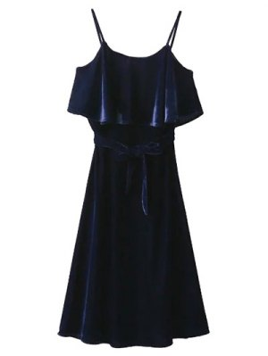 Slip Belted Ruffle Velvet Swing Dress - Purplish Blue