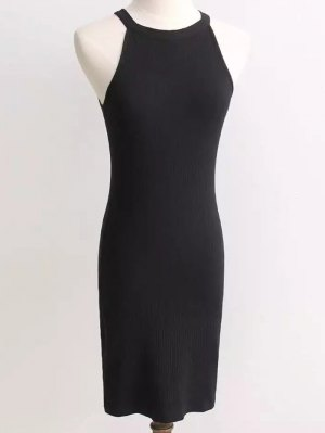 Ribbed Sleeveless Knitted Bodycon Dress - Black