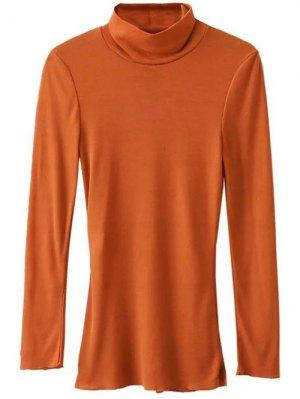 Funnel Neck Fitted Side Slit T-Shirt - Orange