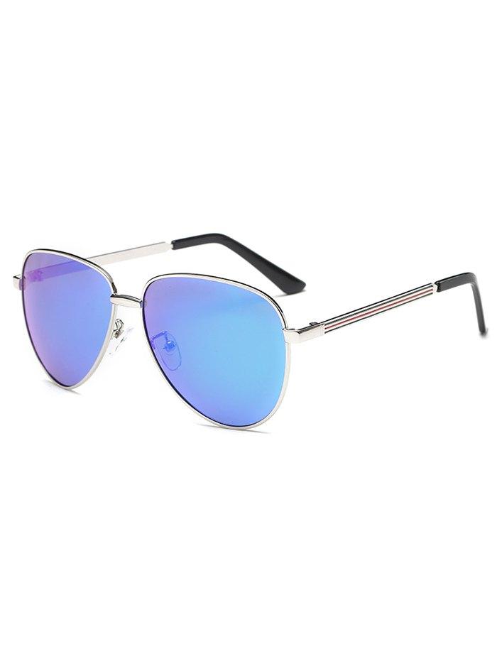 Stripy Leg Metal Mirrored Pilot SunglassesAccessories<br><br><br>Color: ICE BLUE